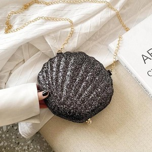 Zipper Closure Sea Shell Shaped Bags - Black