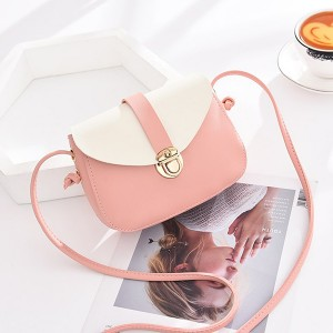 Press Lock Contrast PU Messenger Bags - Pink