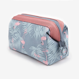 Printed Flamingo Zipper Mini Cosmetics Bags - Green