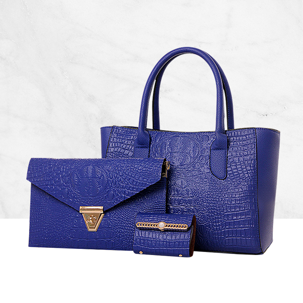 Three Piece Classic Beautiful Luxury Ladies Handbag Blue