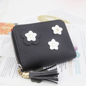 Tassel Synthetic Floral Leather Zipper Mini Wallet - Black