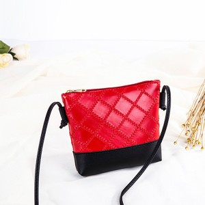 Patchwork String Strap Shoulder Bags - Red