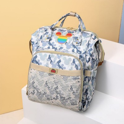 Cartoon Texture Multi Pockets High Quality Mother Bags - Gray