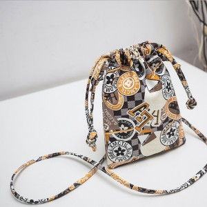 Printed PU Drawstring Mini Shoulder Bags - Apricot