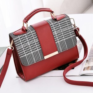 Checks Printed Quality Handbags - Red
