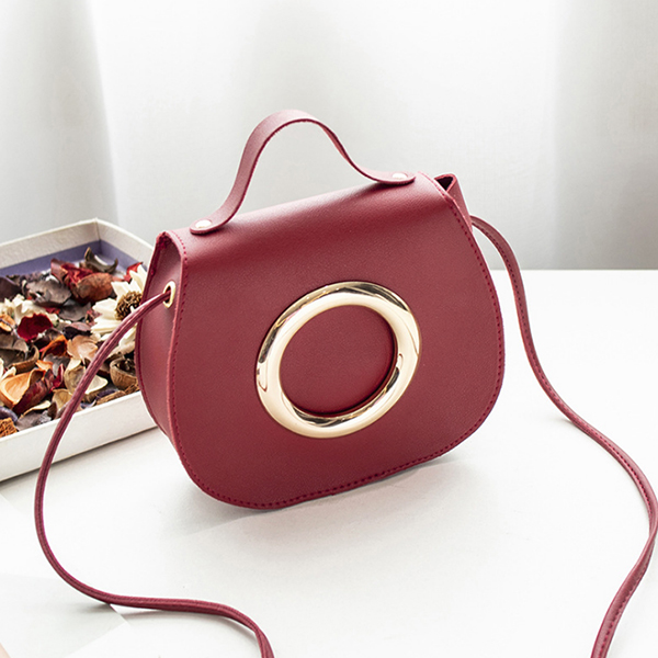 Golden Ring String Strap Party Shoulder Bags - Burgundy
