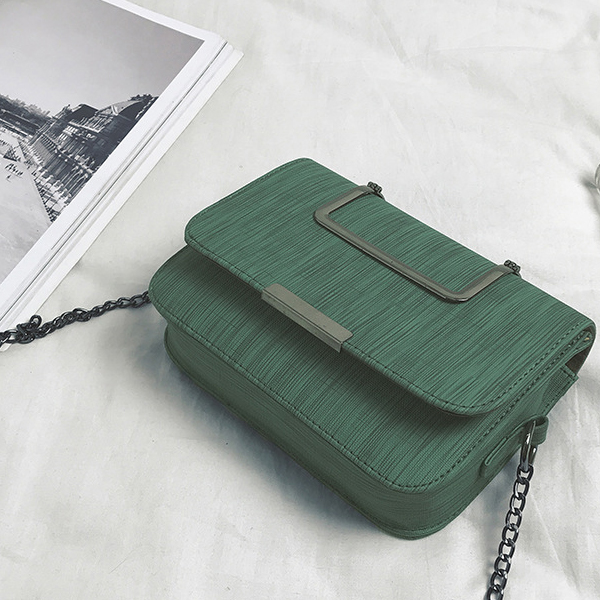 Cross Body Chain Square Shaped Bags - Green