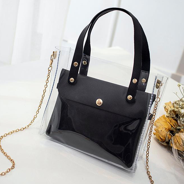 Chain Synthetic Leather Jelly Shoulder Bags - Black