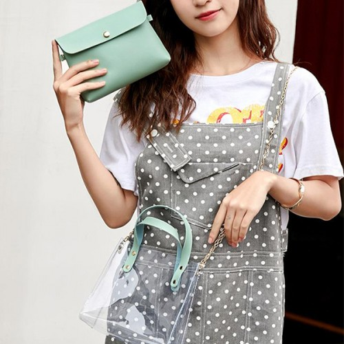 Chain Synthetic Leather Jelly Shoulder Bags - Green