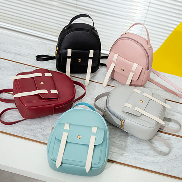 Magnetic Closure Pocket Strap Zipper Backpacks - Pink