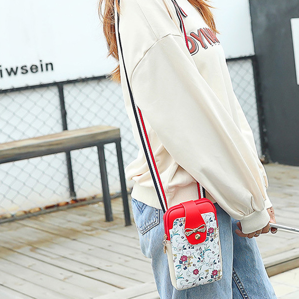 Floral Printed Vertical Zipper Shoulder Bags - Red