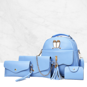 4 Pieces High-quality Backpack And Envelope Bag Set Blue