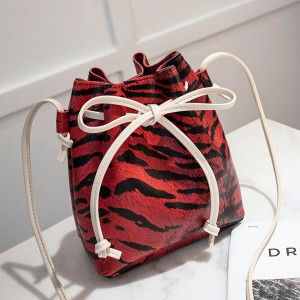 Tiger Pattern Drawstring Bucket Bags - Red