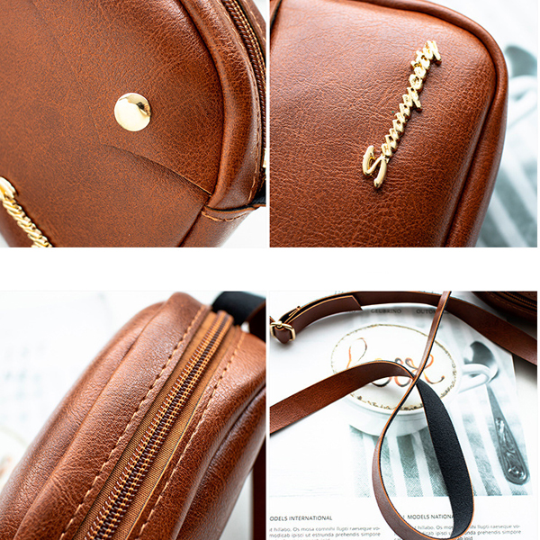 Leather Textured Zipper Closure Messenger Bags