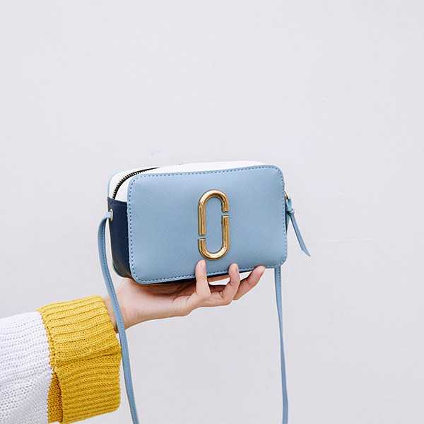 Zipper Closure Square Shape Messenger Bags - Blue