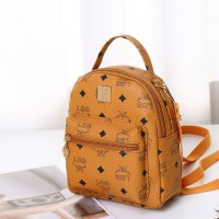Synthetic Leather Mini Strapped Casual Backpack - Brown