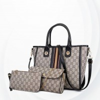 Printed Three Pieces Designers Handbags Set - Black
