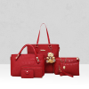 Red Texture Six Pieces Handbags Set