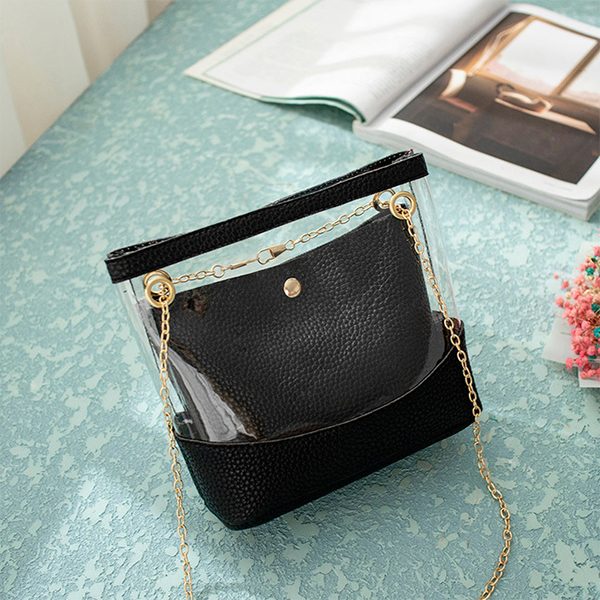 Transparent Designers Synthetic Leather Bags - Black