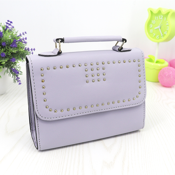 Rivets Synthetic Leather Messenger Bags - Grey