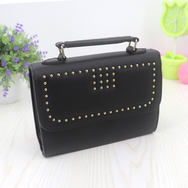 Rivets Synthetic Leather Messenger Bags - Black