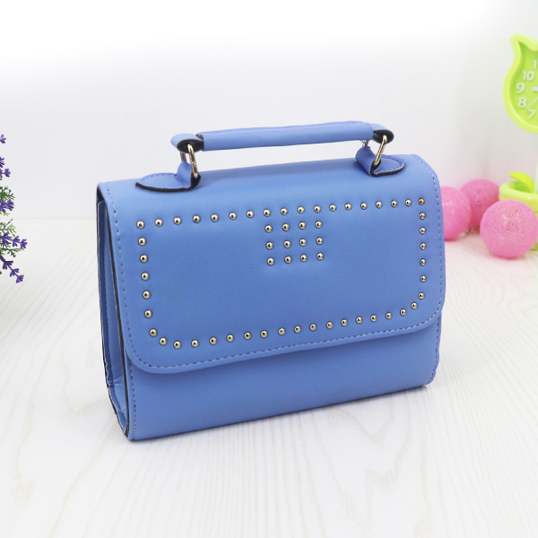 Rivets Synthetic Leather Messenger Bags - Blue