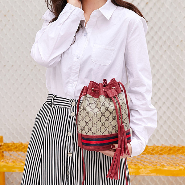 Printed Drawstring Closure Bucket Bags - Red