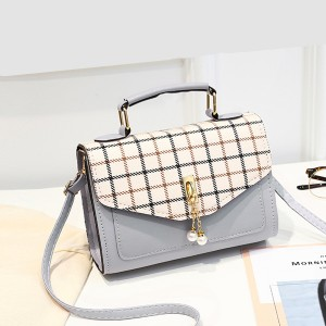 Checks Print Pearl Square Messenger Bags - Grey