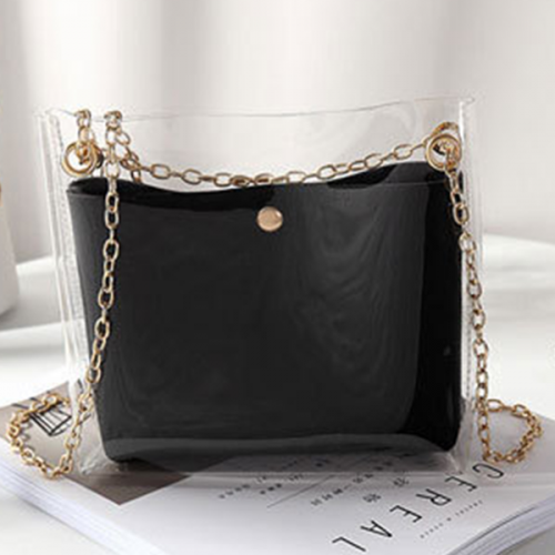 Transparent Chain Strapped Jelly Bags - Black
