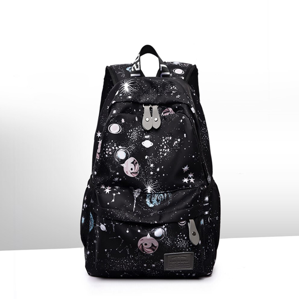 Printed Canvas Casual Wide Space Backpacks - Black