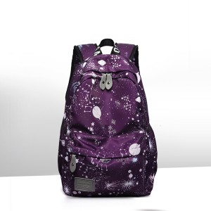 Printed Canvas Casual Wide Space Backpacks - Purple