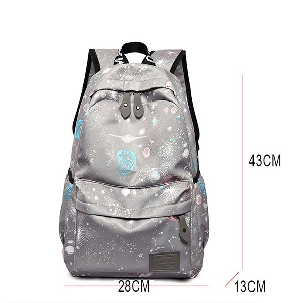 Printed Canvas Casual Wide Space Backpacks - Grey
