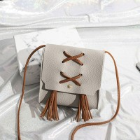 Tassel Strap Synthetic Leather Shoulder Bags - Grey