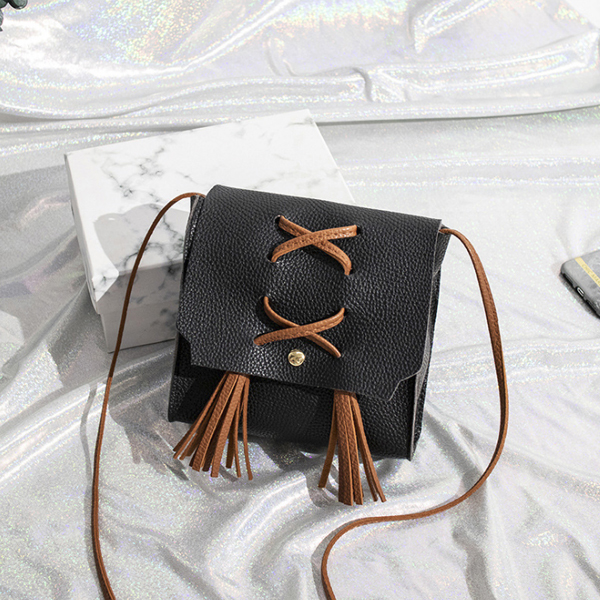Tassel Strap Synthetic Leather Shoulder Bags - Black