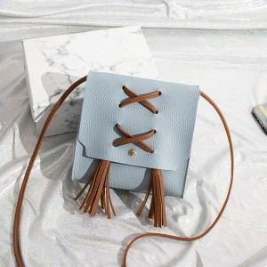 Tassel Strap Synthetic Leather Shoulder Bags - Blue