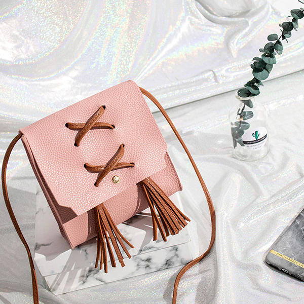 Tassel Strap Synthetic Leather Shoulder Bags