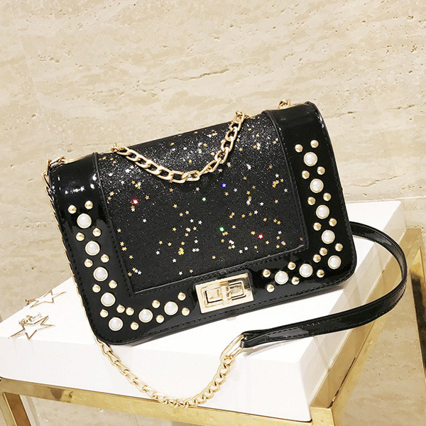 Pearls Glitter Party Chain Messenger Bags - Black