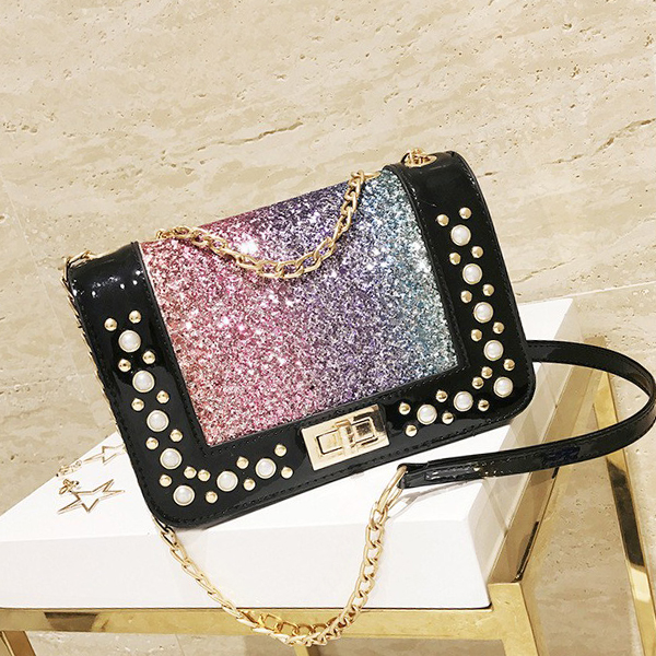 Pearls Glitter Party Chain Messenger Bags - Multicolor