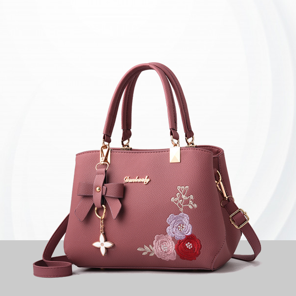 Embroidered Leather Texture Formal Shoulder Bags - Pink