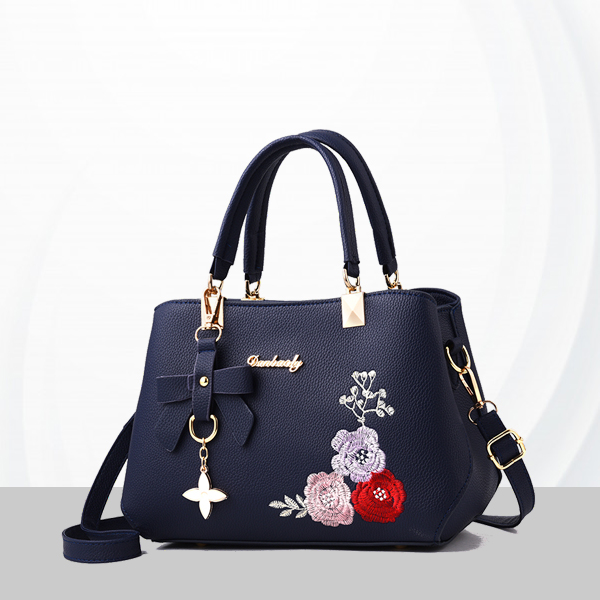 Embroidered Leather Texture Formal Shoulder Bags - Blue