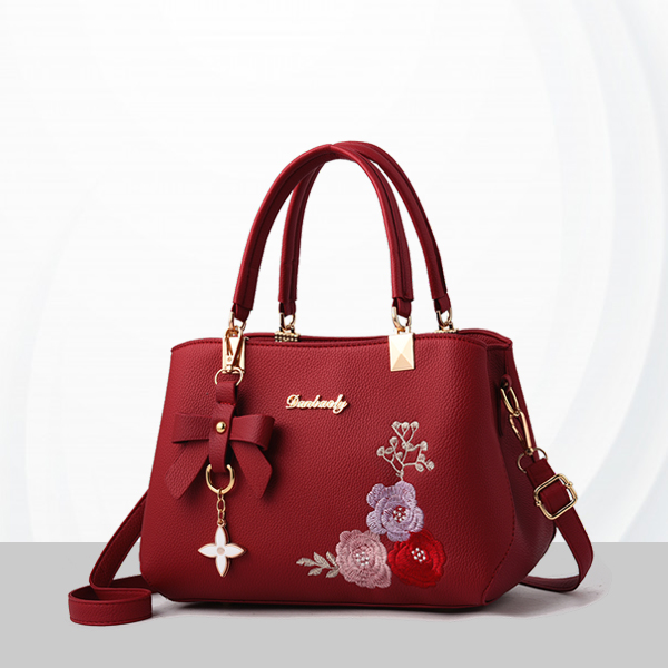 Embroidered Leather Texture Formal Shoulder Bags - Red