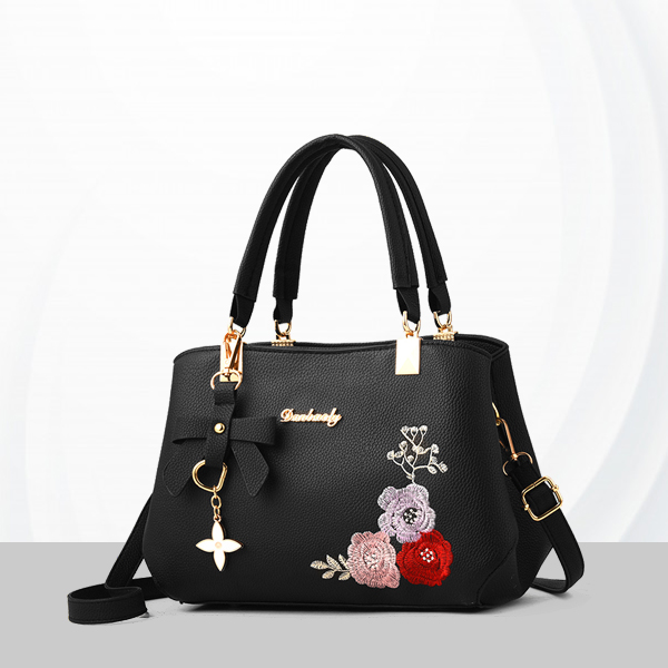 Embroidered Leather Texture Formal Shoulder Bags - Black