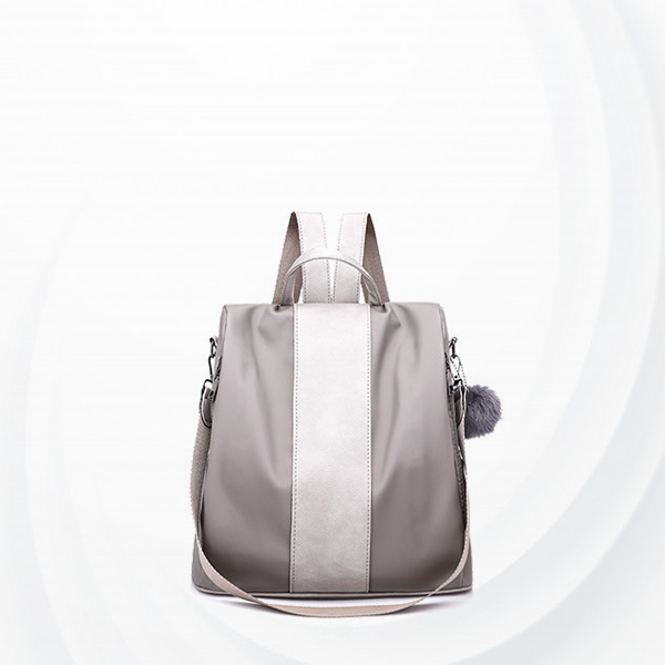 Leather Patch Women Formal Backpack - Grey
