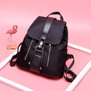Zipper Pocket Quality Nylon Backpacks - Black