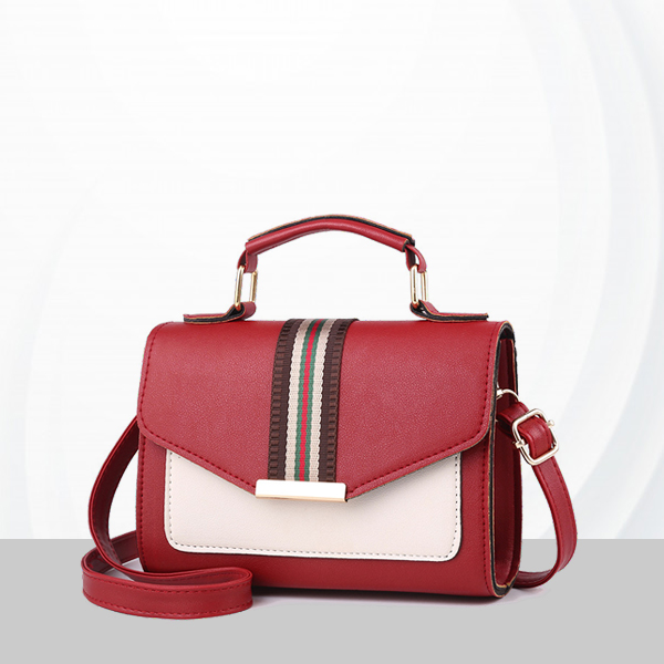 Duo Contrast PU Leather Messenger Bags - Red