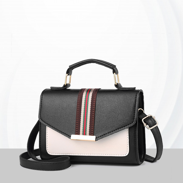 Duo Contrast PU Leather Messenger Bags - White