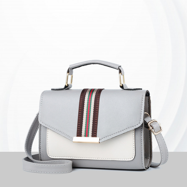 Duo Contrast PU Leather Messenger Bags - Grey