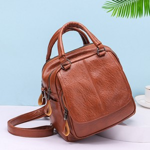 Synthetic Leather Multi Pockets Shoulder Bags - Brown