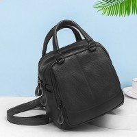 Synthetic Leather Multi Pockets Shoulder Bags - Black