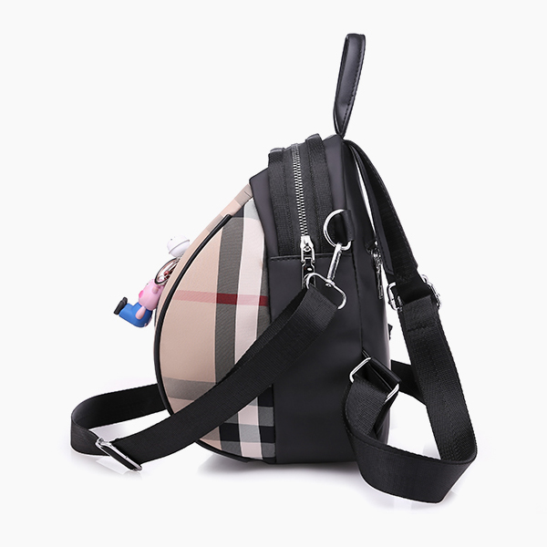 Check Prints Zipper Mini Backpacks - Black